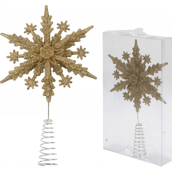 Kerstboom piek gouden sneeuwvlok Goudkleurig