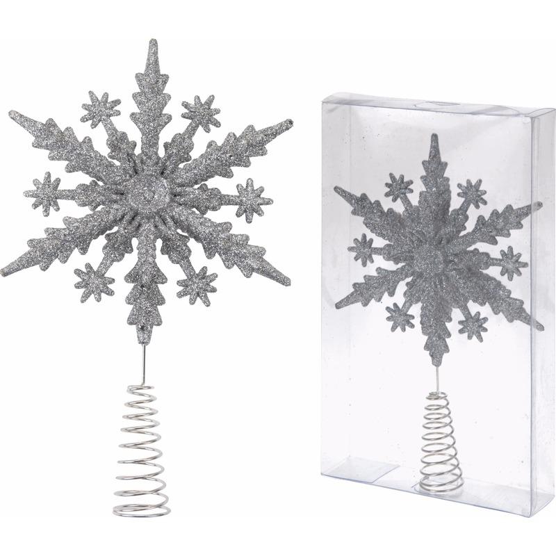 Kerstboom piek zilveren sneeuwvlok