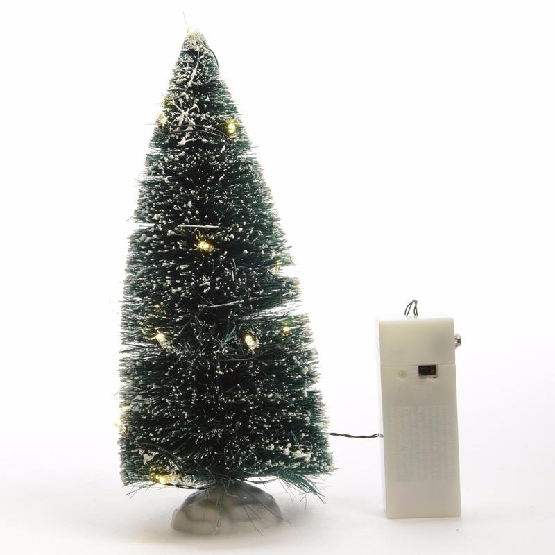 Kerstdorp decoratie LED boompjes besneeuwd 21 cm