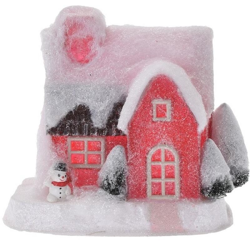 kerstdorp kersthuisje 18 cm rood type 3 met led lampjes rood