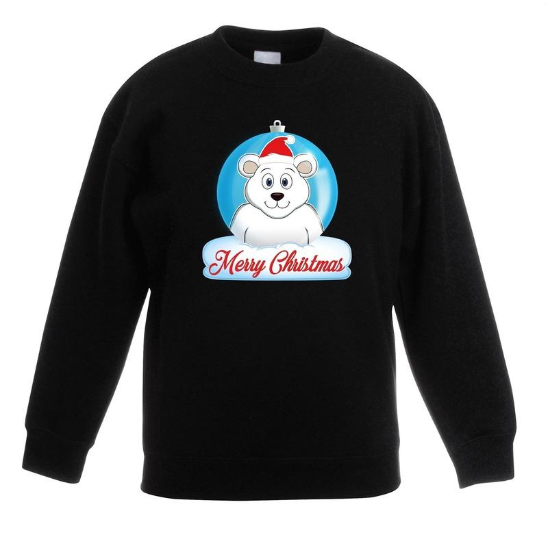Kersttrui ijsbeer kerstbal zwart voor jongens en meisjes 12-13 jaar (152/164) Groen