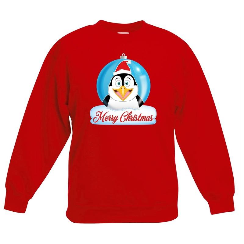 Kersttrui pinguin kerstbal rood voor jongens en meisjes 9-11 jaar (134/146) Rood