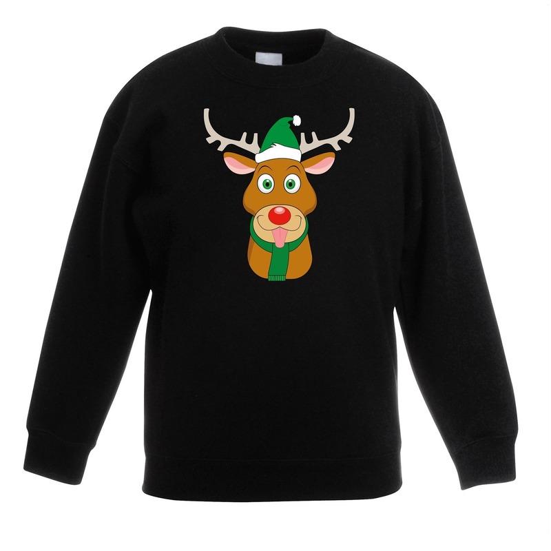 Rendier Kersttrui.Kersttrui Rendier Rudolf Met Groene Muts Zwart Voor Jongens En