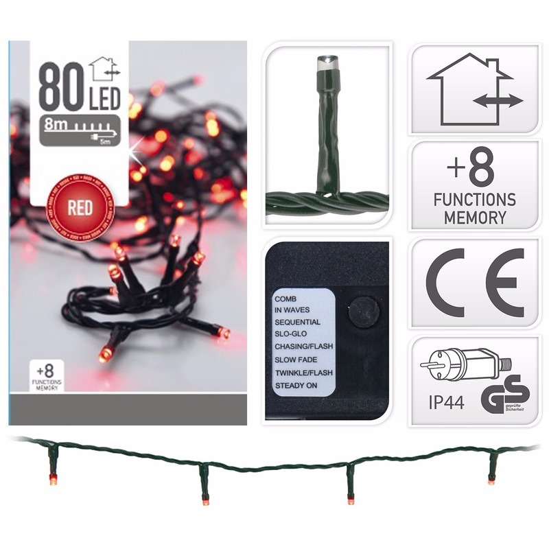 Kerstverlichting Led Rode Lampjes 80 Stuks Fun En Feest