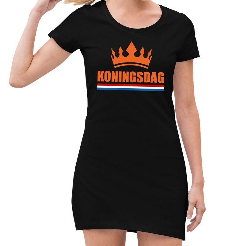 Koningsdag kroon jurk zwart dames S Zwart