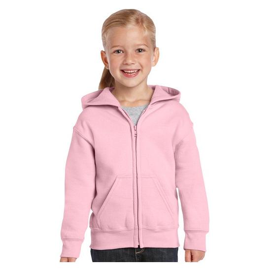 Lichtroze sweater met rits voor meisjes S (116-128) Roze