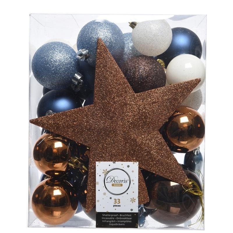 Luxe kerstballen pakket + piek dennen blauw/bruin/wit kunststof 33 stuks