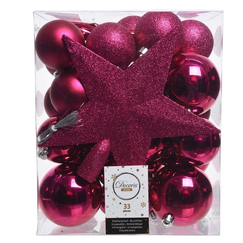 Luxe kerstballen pakket + piek fuchsia roze kunststof 33 stuks