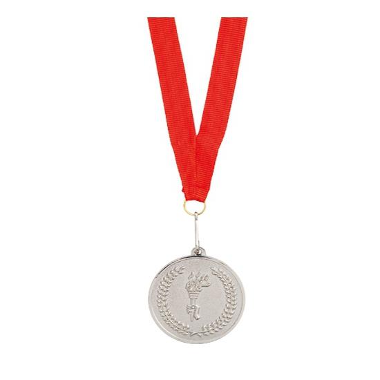 Medaille zilver aan rood lint Zilver