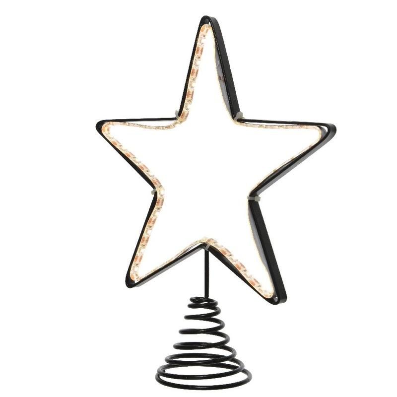 Metalen kerstboom piek met Led lampjes 22 cm Wit