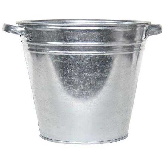 Metalen kuip emmer plantenbak 15 x 32 cm Zilver