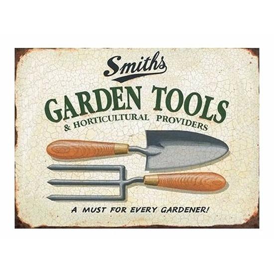 Metalen tuin plaatje 30 x 40 Garden Tools Multi