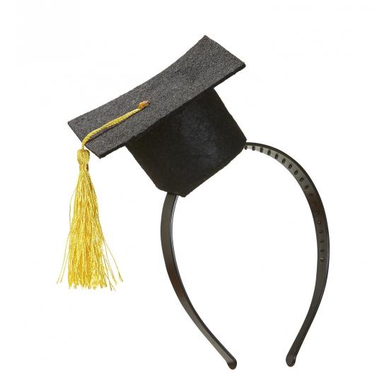 Mini afstudeer hoedje op diadeem Zwart