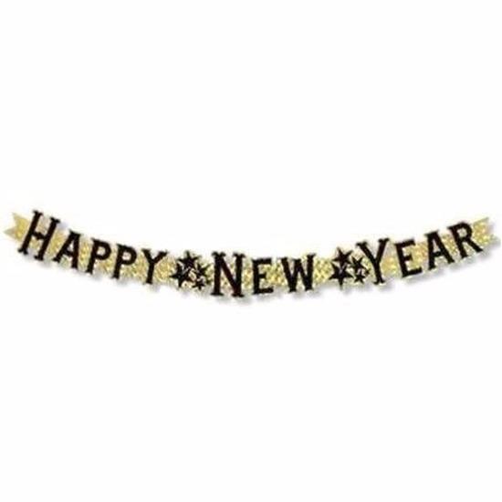 Nieuwjaar feest slinger goud 90 cm Happy New Year Goudkleurig