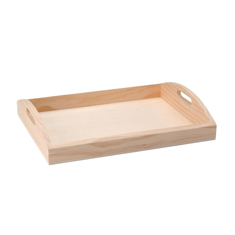 Onbedrukte houten dienblad 37 cm