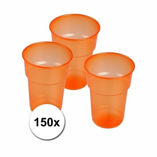 Oranje bierglazen plastic 150 stuks