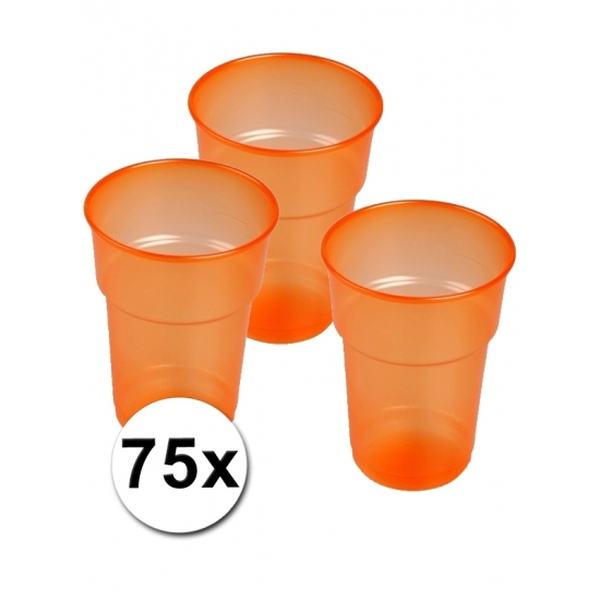 Oranje bierglazen plastic 75 stuks