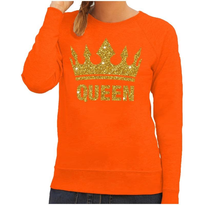 Gouden Glitter Trui.Oranje Queen Gouden Glitter Kroon Trui Dames Fun En Feest
