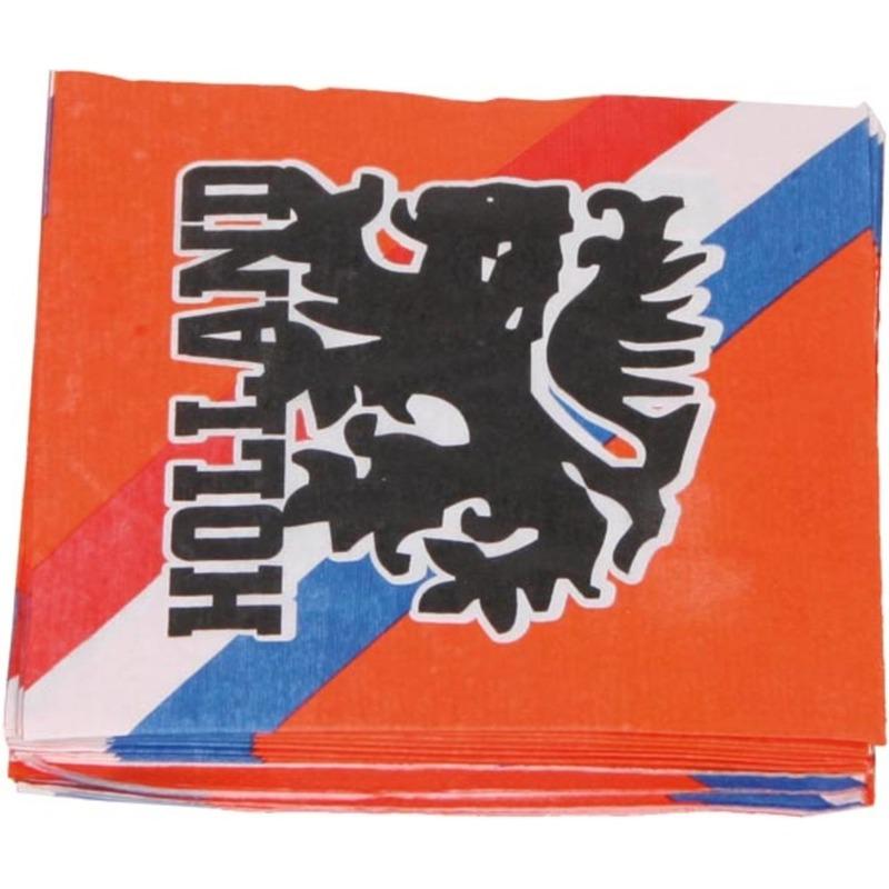 Oranje voetbal servetten 33 cm Oranje