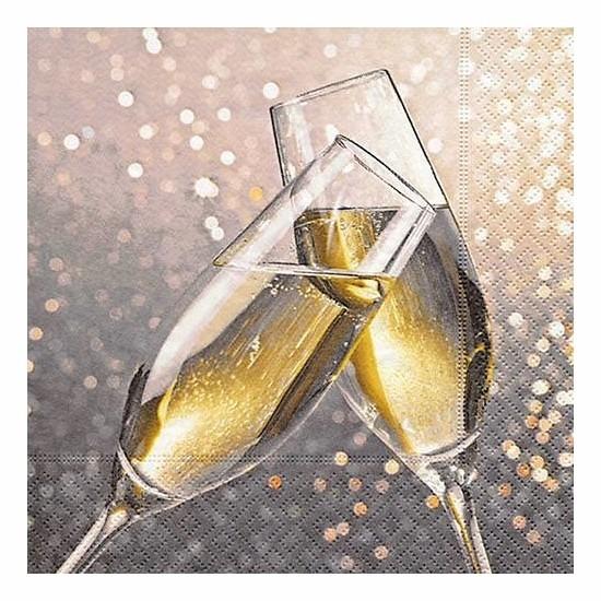 Oud en Nieuw servetten champagne Multi