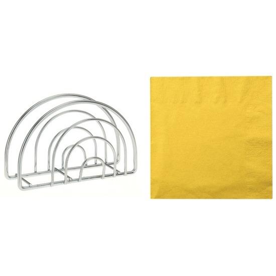 Paas servettenhouder inclusief 20 servetten in de kleur geel Multi