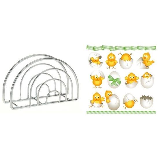 Paas servettenhouder inclusief 20 servetten met paas kuikens Multi