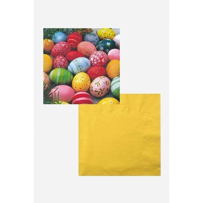 Paasontbijt/paasbrunch tafelversiering wit/geel/gekleurd Multi