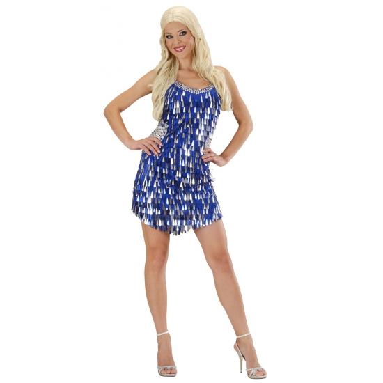blauwe pailletten jurk