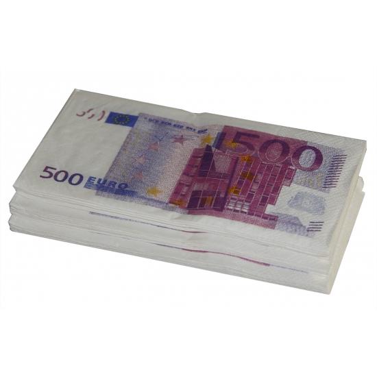 Papieren 500 euro print servetten 10 stuks Multi