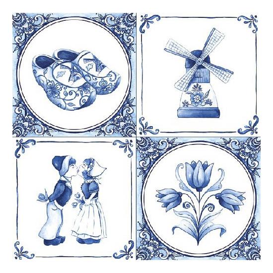 Papieren servetten met Delfts blauw thema print 40 stuks Multi