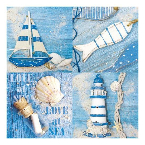 Papieren servetten met zee thema print 20 stuks Multi