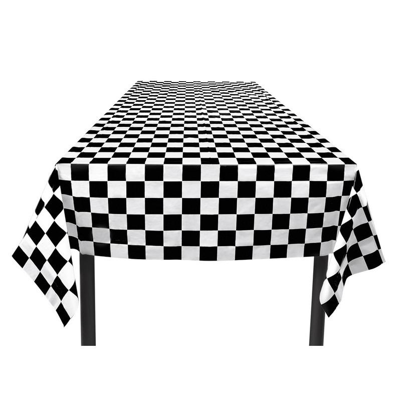 Party tafelkleed zwart/wit geblokt 130 x 180 cm Multi