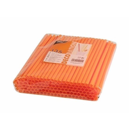 Plastic drinkrietjes oranje 135 stuks