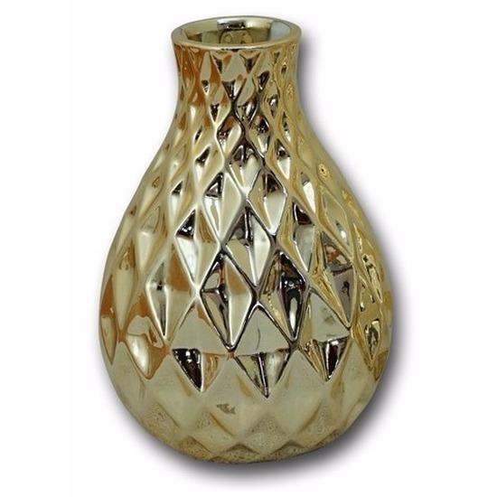 Porseleinen vaas goud ruiten 15 cm