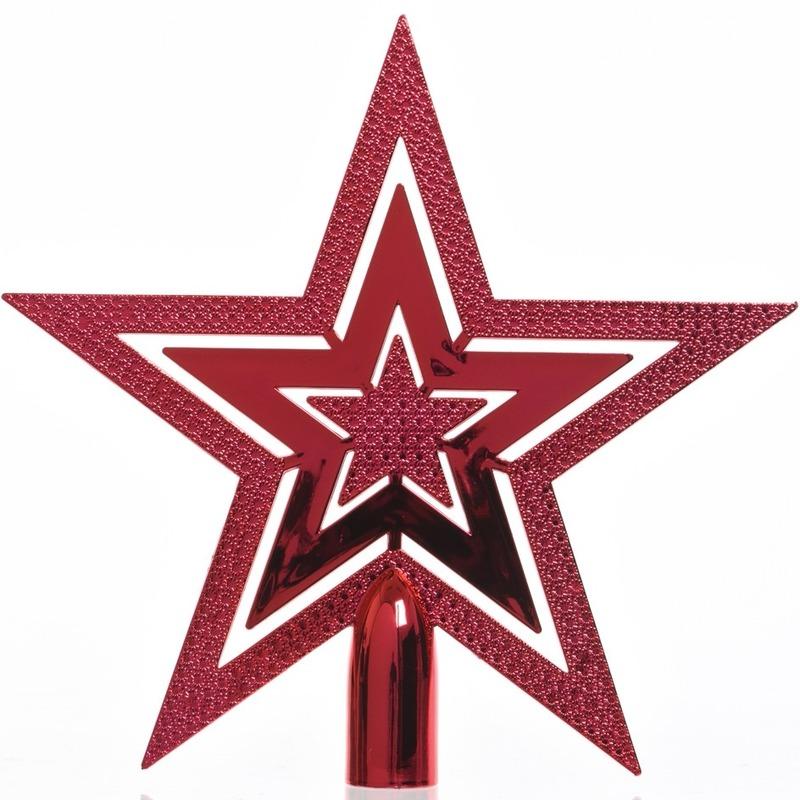 Rode kerstversiering piek 20 cm Rood