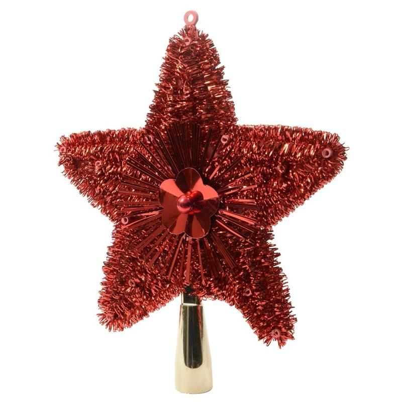Rode kerstversiering piek van 23 cm Rood