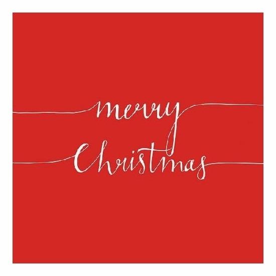Rode Merry Christmas servetten 20 stuks Rood