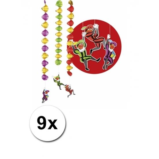 Rotor spiralen Zwarte Pieten 9 stuks - Sinterklaas decoratie