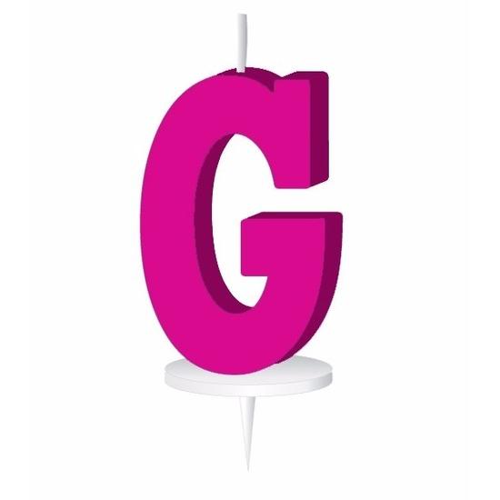 Roze taart kaarsje letter G