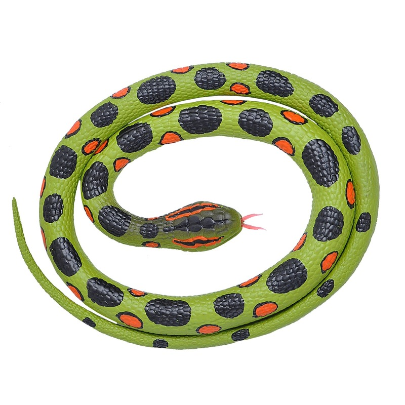 Rubberen dieren anaconda slang 117 cm Groen