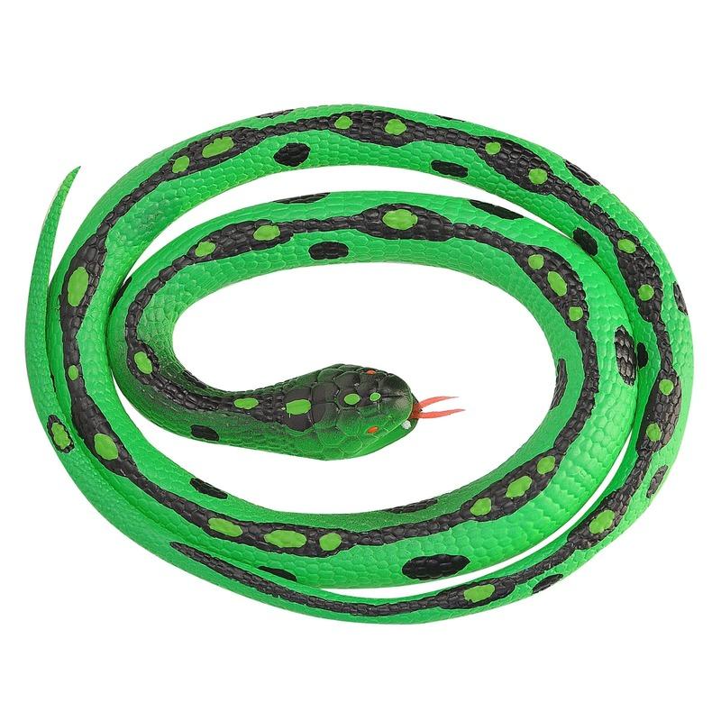Rubberen dieren gras slangen 117 cm Groen
