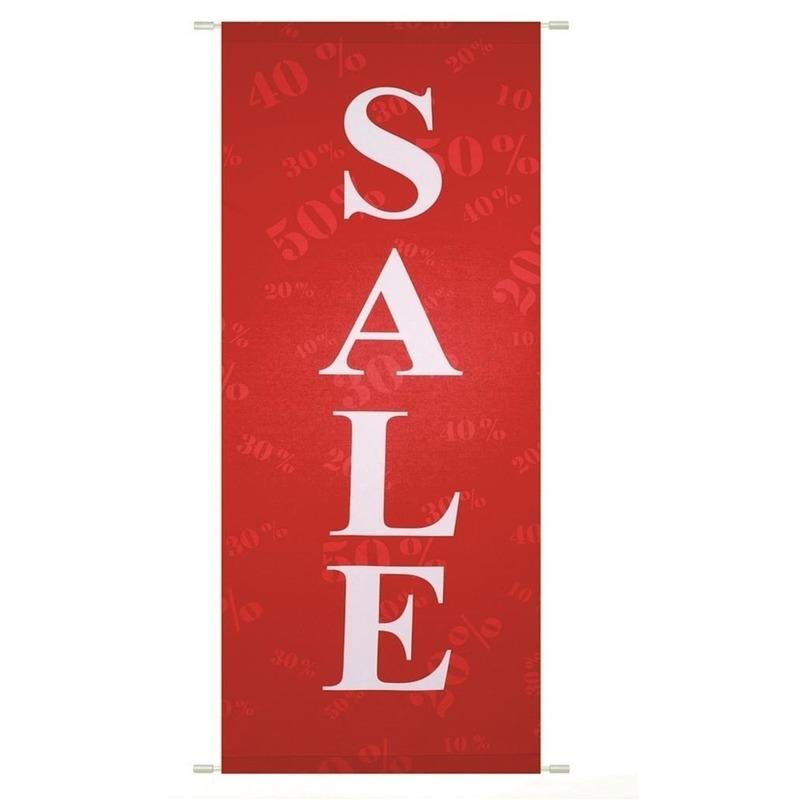 Sale/uitverkoop banier vlamwerend 75 x 180 cm Rood