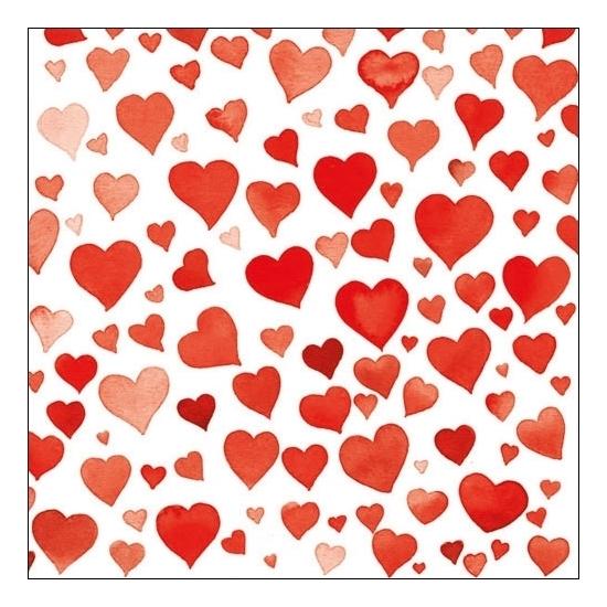 Servetten rode hartjes 20 stuks Rood