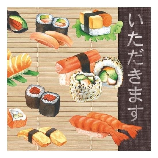 Servetten soorten sushi 3-laags 20 stuks Multi