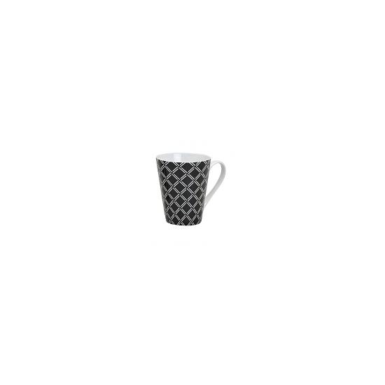 Seventies motief koffie mok ruitjes zwart 250 ml