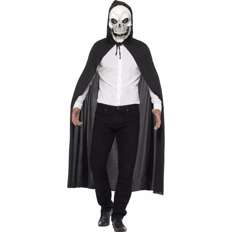 Skelet verkleedkleding cape met masker One size Zwart