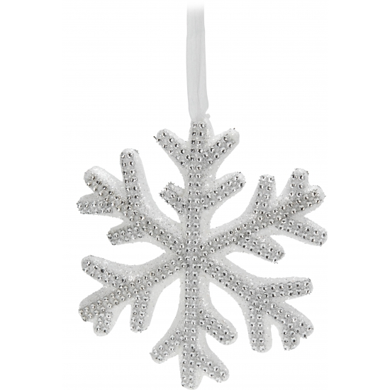 Sneeuwvlok hanger met steentjes 25 cm Zilver