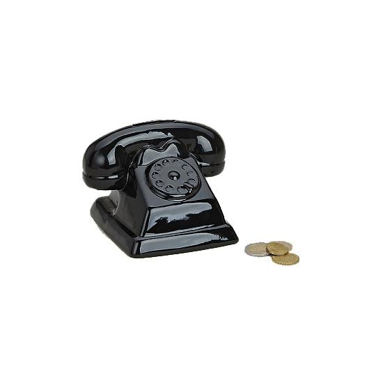Spaarpot klassieke zwarte telefoon