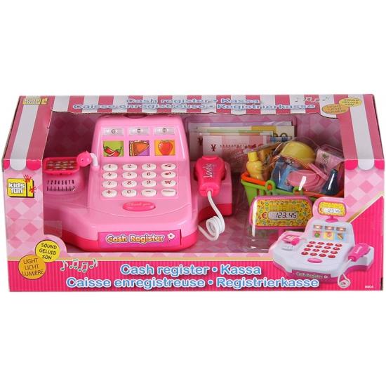 Speelgoed winkeltje kassa roze met boodschappen Roze