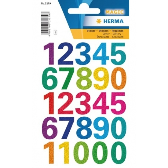 Stickervel met gekleurde cijfer stickers